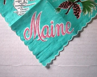 Maine Map Linen Hankie - New Unused
