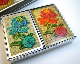 1970s Flower Power Playing Cards - Two Packs - Bridge Set
