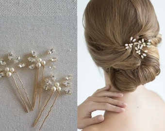 Gold Pearl Hair Pin, Crystal Hair piece, Silver pearl Hairpin, Bridal Hair Comb Accessory, Ivory Pearl Wedding Hair comb {Athena Hairpin}