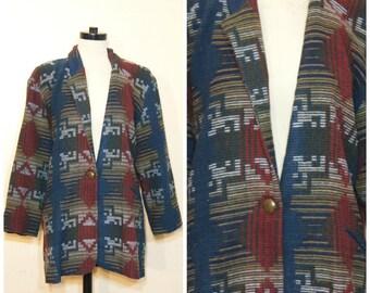 Southwestern Navajo Jacket Cardigan Sweater Blazer Aztec Ikat Colorful 90s Twin Peaks