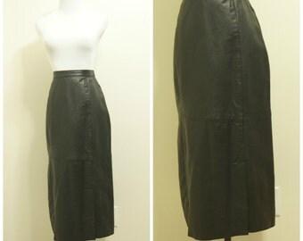 High Waisted Black Leather Skirt Medium 28 Waist Midi Skirt