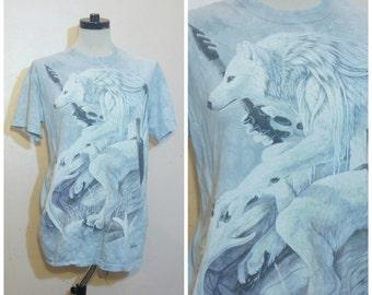 Magical Wolf Tshirt Pastel Blue OSFM Medium Large 90s Hipster T Shirt Nerdy