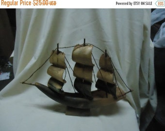 Valentines Sale Vintage Sailing Ship Made From Bull Horn, collectable