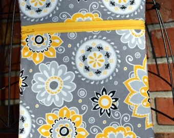Handmade - Yellow and Gray - Flowers - Medallions - Sling Bag, Cross Body Bag, Hipster, Travel Bag - Hands free