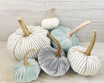 Velvet Pumpkins-Ticking Pumpkins-Drop Cloth