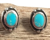 "Sold to cbrackne1 -Turquoise Earrings Sterling Silver Vintage Navajo Inlaid ""Kingman Turquoise"" Post-Back"