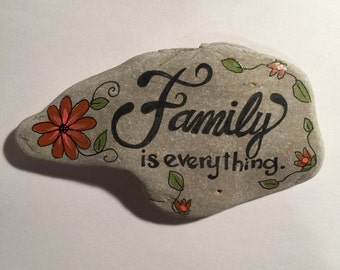 Handpainted Rock - Family is Everything