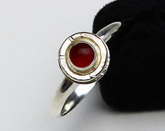 Size 9.5 Ring Handcrafted Sterling Silver Carnelian Bright Finish Stack Ring Friendship Ring Virgo Birthstone Natural Stone Round 416741714