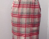 Sale Valentines 1970s or 80s Wool Plaid Pencil Skirt, High Waist, Size Small/Med,  #37362