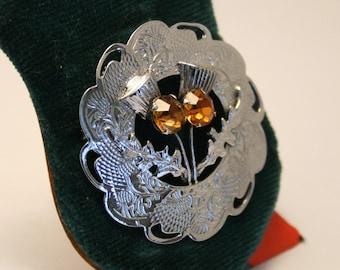 Scottish thistle brooch. Vintage brooch.  Original box. Golden crystals