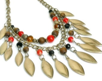 Fringe Necklace, Layered Necklace Set, Statement Jewelry, Autumn Fringe Necklace, Boho, Southwest Statement Necklace, Red Brown Gold