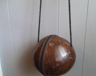 Vintage Coconut Purse ~ Real Coconut Shell shoulder bag ~