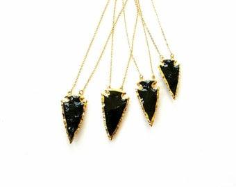 Gold dipped Arrowhead jewelry-arrow necklace-obsidian arrowhead-raw tribal necklace