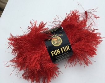 Novelty Yarn, Lion Brand Fun Fur, eyelash, ONE skein Bright Red Color 113, Funky Worsted Yarn for Trim, Embellishments, Accessories