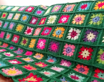 Crochet Granny Squares Flowers Afghan Blanket Emerald Sofa Throw