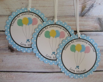 Balloon Party Custom Favor Tags - Up, Up, and Away Collection