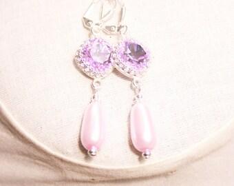 Handmade Violet Earrings Swarovski Crystal Violet Earrings Purple Cushion Stone Ring Swarovski Violet Earrings Swarovski Violet Pearl