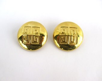 Vintage French Earrings Givenchy 1980 Designer Givenchy Signed 80s 1980 Large Gold Goldtone Clips Clip Ons Dynasty 80s Round