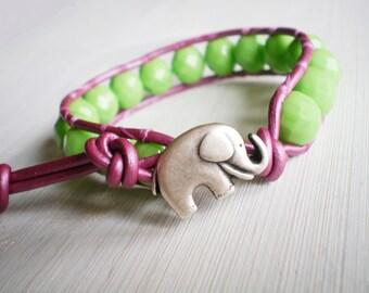 Green Flash Bracelet Elephant Jewelry Leather Cuff  Wrap Bracelet