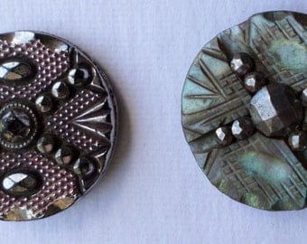 Vintage Antique Buttons Shell  + Steel Black Glass Silver Luster St. Andrews Cross