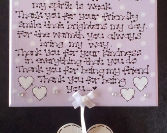 Handmade Personalised Thank You for Being My Friend Friendship Poem Gift Plaque