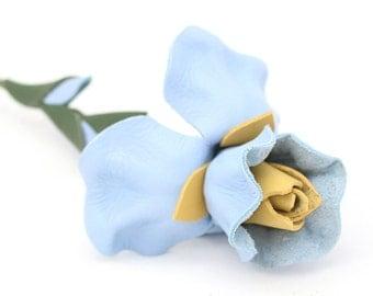 Leather flower baby blue iris Valentine's Day gift Mother's Day gift Wedding Third Anniversary Gift Long Stem Flower 3rd Leather Anniversary