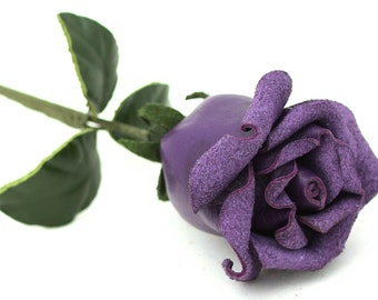 Purple leather rose third Anniversary wedding gift  Long Stem leather flower Valentine's Day 3rd Leather Anniversary Mother's Day Prom