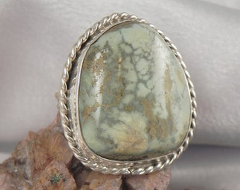 Native American Green Jasper Sterling Ring