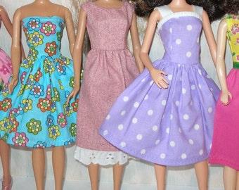 Handmade Barbie clothes - mixed lot of 5 pretty dresses