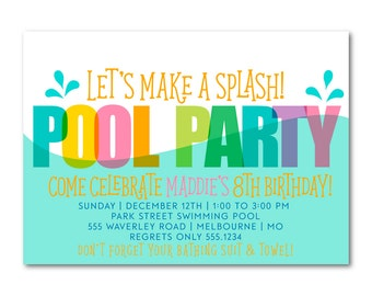 Pool Party Birthday Invitation, Printable Birthday Invite,  Summer Birthday, Swim party, Splash Party Invitation, Printable, Digital,  1510