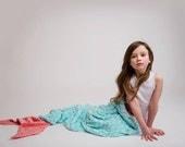 Mermaid Blanket- Minky Mermaid Tail- Aqua Pink Lilac Purple Teal Bedding- Minky Sleep Sack- Mermaid Bedding- Ships out in 1-3 Days