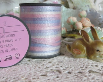 Paris Chic Vintage Millinery Ribbon-Blue and Pink-5 yards-Made in Japan