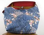 ACROSS BODY BAG - Denim Bag - Over Shoulder Bag - Large Bag - Hobo Bag - Crossbody Purse - Crossbody Bag - Boho Bag - Vegan Bag - Blue Bag