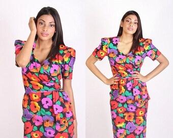 70% Off FINAL SALE - Vintage Designer Saks Fifth Avenue Dress / David Warren / Dress / Dresses  / Cotton Dress / Floral / Tropical / Origami