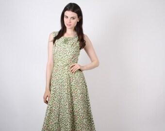 70% Off FINAL SALE - D - 1940s Cotton Dress   - Vintage 40s Dress - The Hattie Dress  - 6099