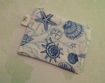 Padded Zippered Pouch purse Gadget Coin/Accessory Case - Seashells print