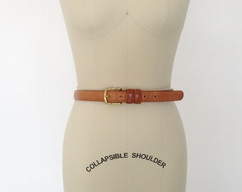 "Vintage Belt Authentic Coach Belt / Skinny Leather Belt with Brass Buckle / Size 75 cm 30"" / Mens Belt Womens Belt Brown Belt"