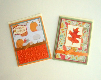 Fall Cards Set of Two Happy Fall Leaves Pumpkins Autumn Orange and Green Teal