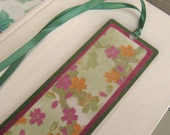Green and Magenta Japanese Washi Floral Laminated Bookmark