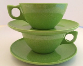1950's Melamine Tea Cups and Saucers set of 2  by Branchell