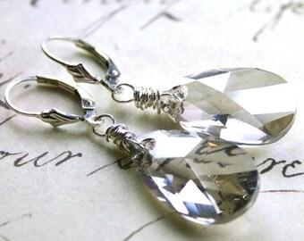 ON SALE Swarovski Crystal Teardrop Earrings in Silver - Silver Grey Swarovski Crystal with Sterling Silver Leverbacks