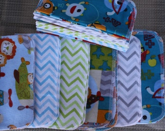 36 Cloth Baby Wipes, Starter Set, Animals in Airplanes, Chevron, and Alphabet Monsters, 3 Dozen Flannel Wipes