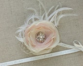 Blush Pink Wedding hair flower Bridal Hair piece Blush headpiece Feather Fascinator wedding hair piece Rustic Vintage Lace headpiece
