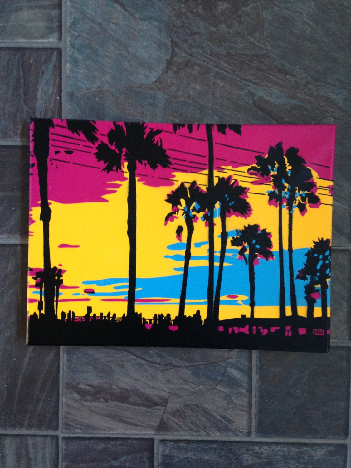 Sunset in los angeles stencil art painting canvas spray paint for Printable stencils for canvas painting