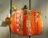 Pumpkin Potholder Patchwork, Fall pumpkin, Thanksgiving decore , mug rug, hotpad