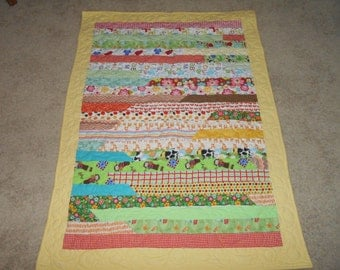 Proceeds go to Charity Work - Flannel, Jelly Roll Baby Quilt - For a Girl or Boy!