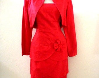 Vintage Cherry Red Cocktail Party Dress with Bolero Jacket - Strapless Red Party Dress - Bombshell Dress - Medium 11 12