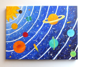 Art for Kids, SOLAR SYSTEM No.12, 16x12 acrylic canvas painting, space themed childrens decor wall art