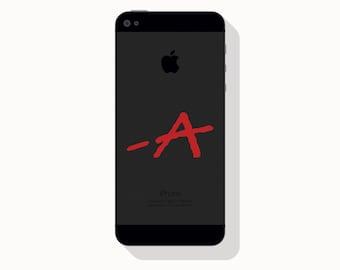 Scarlett Letter Vinyl Decal, Signed A, iPhone Decal, Vinyl Sticker