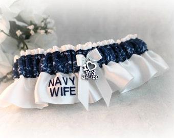 Military U.S. Navy Wedding Garter - Bridal Shower Gift - Something Blue Keepsake Garter - Navy Camo Garter - Embroidered Garter.